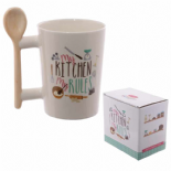 Wooden Spoon Shaped Handle Mug